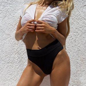 Other - Boutique Black High Waist Bikini Bottom size M